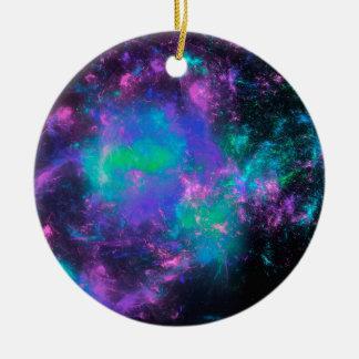 colorful rainbow fractals ceramic ornament