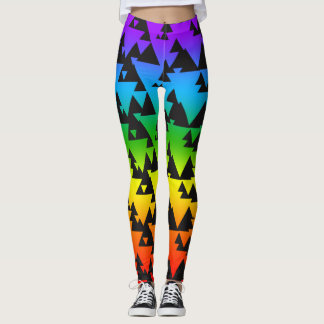Colorful Rainbow Geometric Pattern Leggings