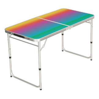 Colorful Rainbow Gradient Ombre Multicolored Beer Pong Table