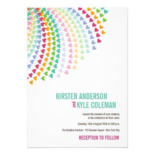 Colorful Rainbow Heart Sprinkles Wedding Invite