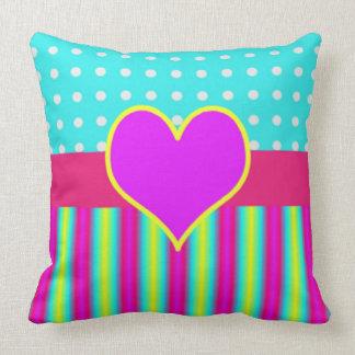 Colorful Rainbow Heart Striped Polka Dots Cushion