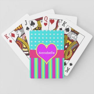 Colorful Rainbow Heart Striped Polka Dots Playing Cards
