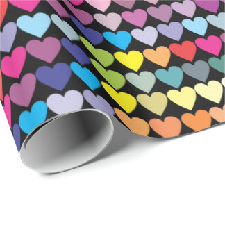 Colorful Rainbow Hearts Wrapping Paper