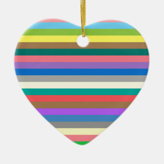 Colorful rainbow lines pattern ceramic heart decoration