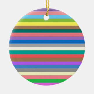 Colorful rainbow lines pattern round ceramic decoration