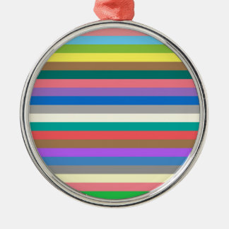Colorful rainbow lines pattern Silver-Colored round decoration