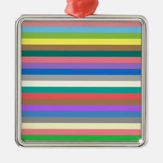 Colorful rainbow lines pattern Silver-Colored square decoration