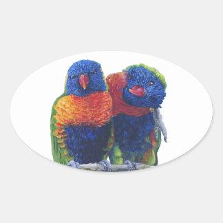 Colorful Rainbow Lorikeets parrots Oval Sticker