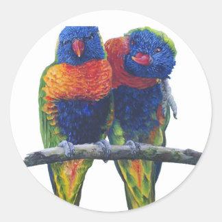 Colorful Rainbow Lorikeets parrots Round Sticker