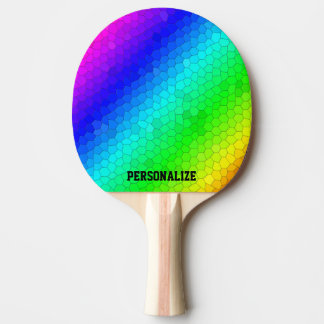 Colorful rainbow mosaic ping pong paddle with name