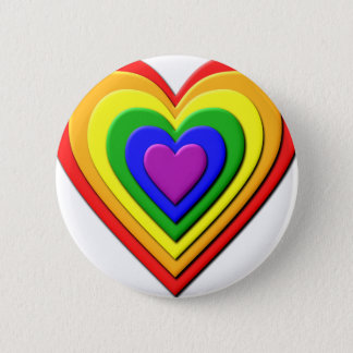 Colorful Rainbow Multi-Layered Concentric Hearts 6 Cm Round Badge