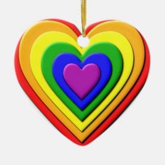 Colorful Rainbow Multi-Layered Concentric Hearts Ceramic Heart Decoration