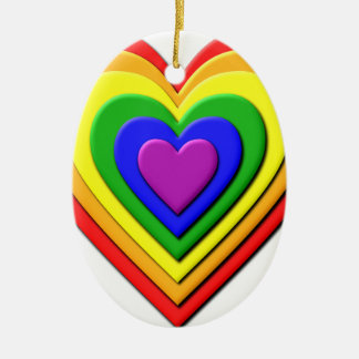 Colorful Rainbow Multi-Layered Concentric Hearts Ceramic Oval Decoration