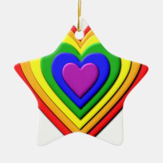 Colorful Rainbow Multi-Layered Concentric Hearts Ceramic Star Decoration