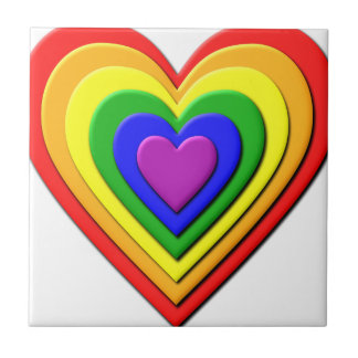 Colorful Rainbow Multi-Layered Concentric Hearts Ceramic Tile