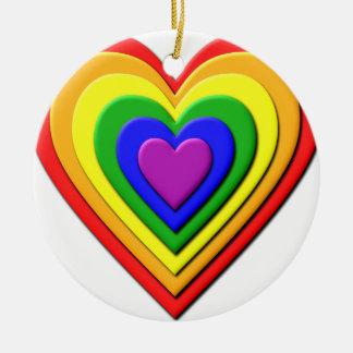 Colorful Rainbow Multi-Layered Concentric Hearts Round Ceramic Decoration