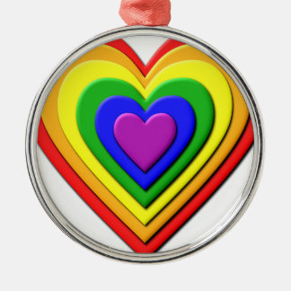 Colorful Rainbow Multi-Layered Concentric Hearts Silver-Colored Round Decoration