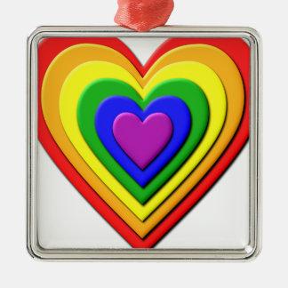 Colorful Rainbow Multi-Layered Concentric Hearts Silver-Colored Square Decoration