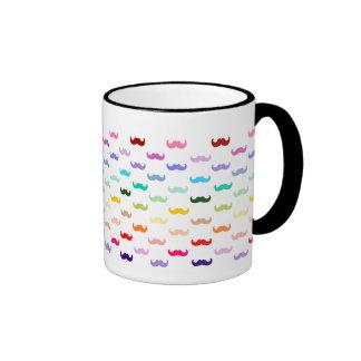Colorful Rainbow Mustache pattern on black Coffee Mugs
