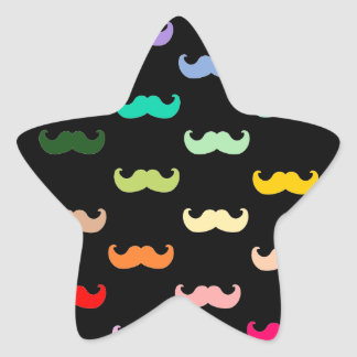 Colorful Rainbow Mustache pattern on black Star Sticker