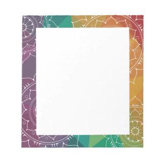 Colorful rainbow ombre geometric mandala hippie notepad