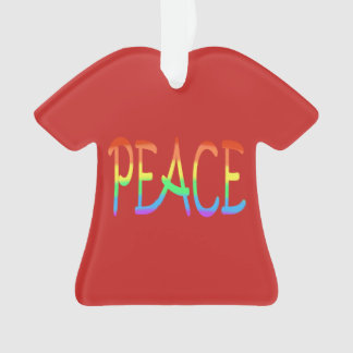 Colorful Rainbow Peace Word Red Ornaments