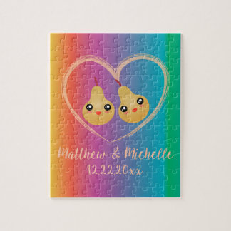 Colorful Rainbow Perfect Pear Cute Wedding Favor Jigsaw Puzzle
