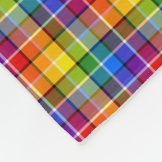 Colorful Rainbow Plaid Fleece Blanket