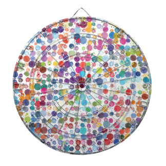 Colorful Rainbow Polka Dot Watercolor Dart Boards