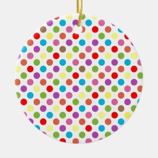 Colorful rainbow polka dots pattern round ceramic decoration