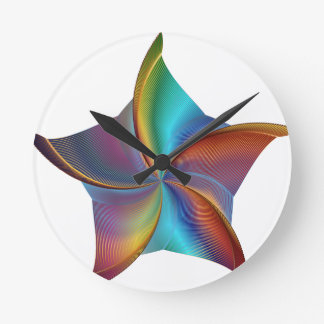 Colorful Rainbow Prism Swirling Star Round Clock