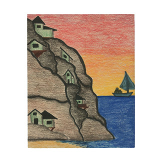 Colorful Rainbow Seascape Folk Art Wall Panel