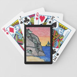 Colorful Rainbow Seaside Folk Art Fishing Village Bicycle Playing Cards