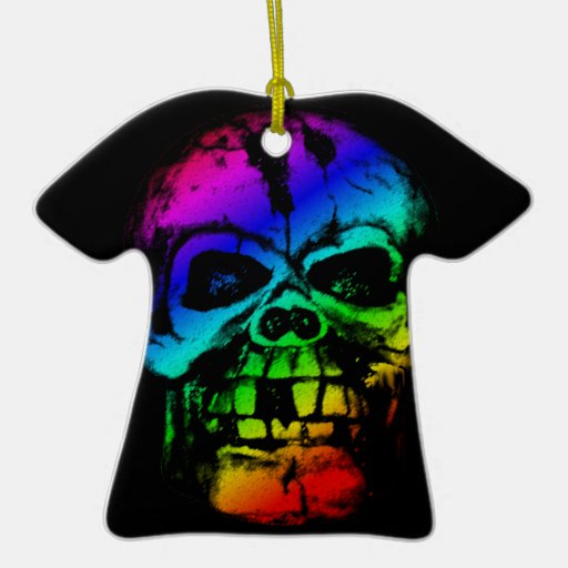 Colorful Rainbow Skull Ornaments