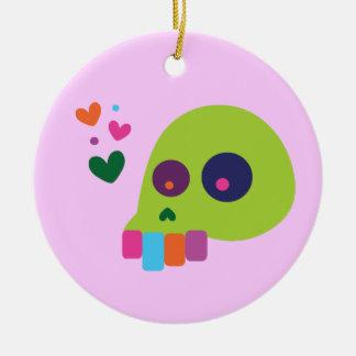 Colorful Rainbow Skull Round Ceramic Decoration