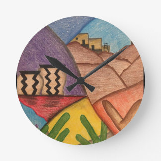 Colorful Rainbow Southwest Desert Arizona Round Clock