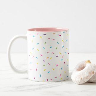 COLORFUL RAINBOW SPRINKLES cute fun modern minimal Two-Tone Coffee Mug