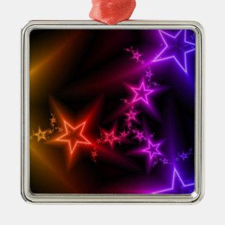 Colorful Rainbow Stars Silver-Colored Square Decoration