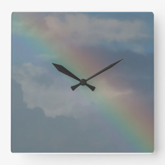 Colorful Rainbow stripe in the sky Wall Clocks