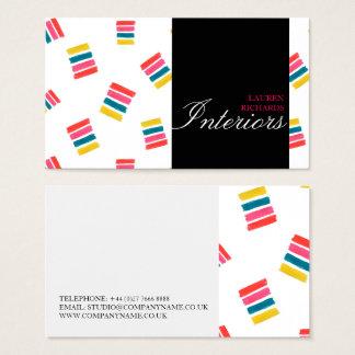 Colorful rainbow stripes + black interior design business card