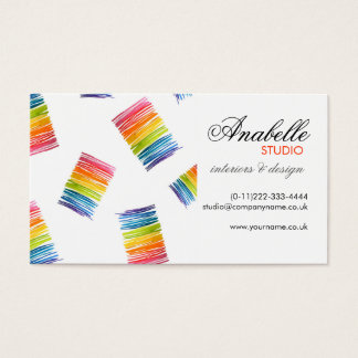 Colorful rainbow stripes interior design business card