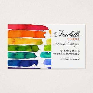 Colorful rainbow stripes interior design business card