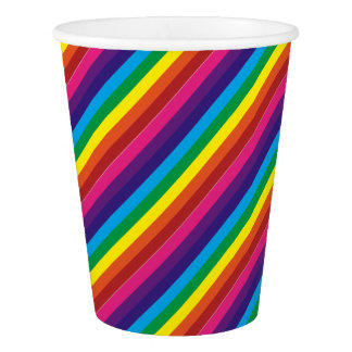 Colorful Rainbow Stripes Pattern Party Supplies Paper Cup