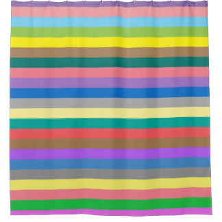 Colorful rainbow stripes pattern shower curtain