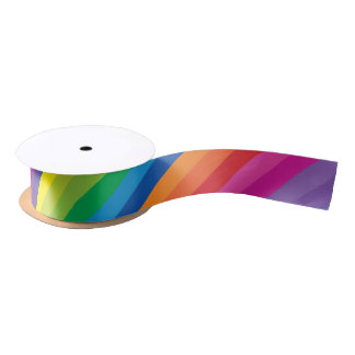 Colorful Rainbow Stripes Satin Ribbon