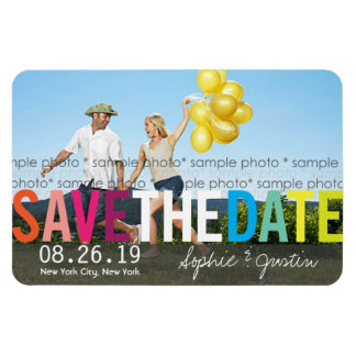 Colorful Rainbow Text Save The Date Photo Magnet Rectangular Magnet