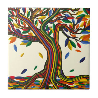 Colorful rainbow tree with bright colors ceramic tile