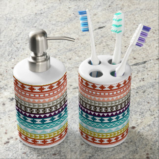 Colorful Rainbow Tribal Aztec Pattern Soap Dispenser And Toothbrush Holder
