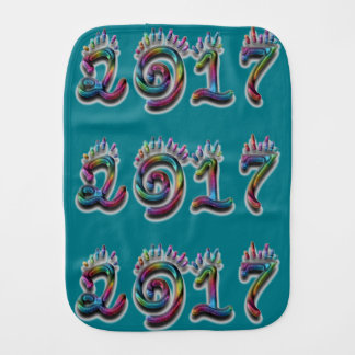 Colorful Rainbow Typography Happy New Year 2017 Baby Burp Cloth