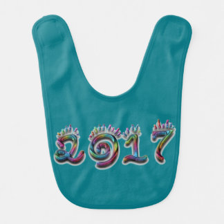 Colorful Rainbow Typography Happy New Year 2017 Bib